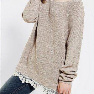 Pins and Needles Oversized Lace Hem Sweater Sz S